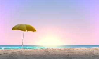 Paesaggio realistico di una spiaggia con il tramonto / alba e un parasole giallo, illustrazione di vettore