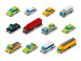 Set di icone auto isometrica vettore