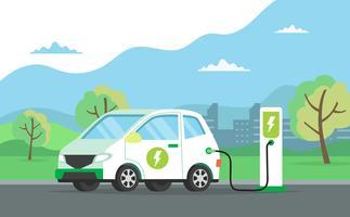 Automobile elettrica che fa pagare la sua batteria con paesaggio naturale, illustrazione di concetto per ambiente verde, ecologia, sostenibilità, aria pulita, futuro. Illustrazione vettoriale in stile piatto.