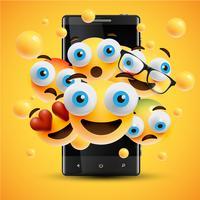 Emoticon gialli felici realistici davanti ad un cellulare, illustrazione di vettore
