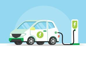 Automobile elettrica che fa pagare la sua batteria, illustrazione di concetto per ambiente verde, ecologia, sostenibilità, aria pulita, futuro. Illustrazione vettoriale in stile piatto.