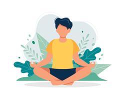 Uomo che medita in natura e foglie. Illustrazione di concetto per yoga, meditazione, relax, ricreazione, stile di vita sano. Illustrazione vettoriale in stile cartoon piatta