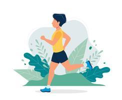 Uomo felice che corre nel parco. Vector l'illustrazione nello stile piano, illustrazione di concetto per stile di vita sano, sport, esercitantesi.