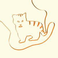Illustrazione animale della tigre di arte di linea 3D, illustrazione di vettore