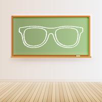Alta lavagna nera dettagliata con pavimento in legno e un paio di occhiali disegnati, illustrazione vettoriale