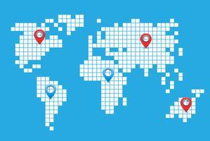 Mappa del mondo dei pixel vettore