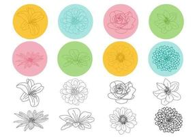 Delineato pacchetto floreale vettoriale