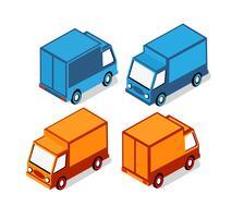 Set isometrico di auto e camion