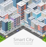 Smart city isometrica urbana vettore
