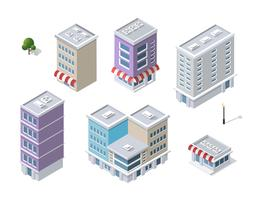 Set di moderni edifici isometrici vettore