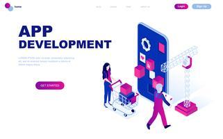 Concetto isometrico moderno design piatto di sviluppo app vettore