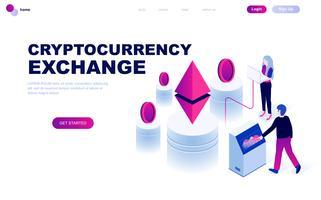 Concetto isometrico moderno design piatto di Cryptocurrency Exchange vettore