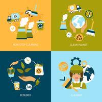 Set di icone piane di ecologia vettore