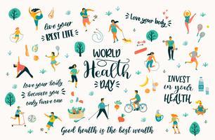 Giornata mondiale della salute con persone che conducono uno stile di vita attivo e citazioni.