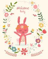 Doodle coniglio rosa carino in cornice ghirlanda di fiori baby shower card vettore