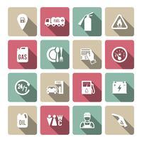 Set di icona di servizio di benzina auto