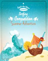 Poster di competizione surf vettore
