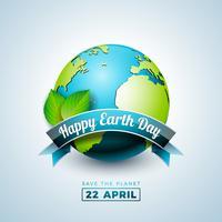 Illustrazione di Earth Day con il pianeta e la foglia verde. Priorità bassa del programma di mondo il concetto di ambiente di aprile 22.