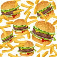 Modello senza cuciture di hamburger vettore