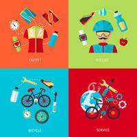 Set di icone di biciclette piatte vettore