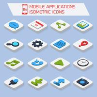 Icone isometriche di applicazioni mobili