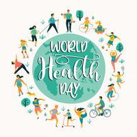 Giornata mondiale della salute. Illustrazione vettoriale di persone che conducono uno stile di vita attivo sano.