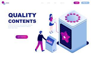 Concetto isometrico moderno design piatto di contenuti di qualità