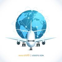 Aeroplano icona logistica vettore