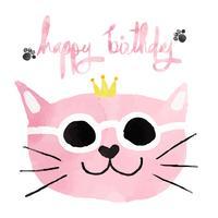 gatto divertente rosa acquerello con carta di buon compleanno corona vettore