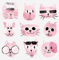 facce di gatto divertente dell'acquerello rosa impostate vettore