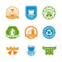 Set di etichette a colori per la pulizia
