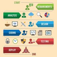 Infografica sviluppo software vettore