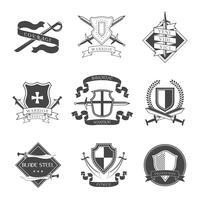 Etichetta spada e scudo vettore