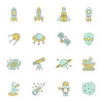 Set di icone di linea dello spazio