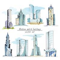 Costruzioni moderne di schizzo colorate