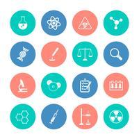 Icone di chimica sui cerchi di colore