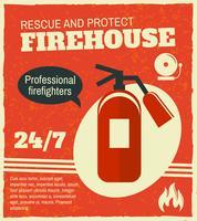 Poster retrò antincendio vettore