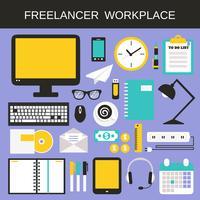Set di icone sul posto di lavoro libero professionista