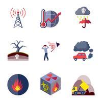 Icone di inquinamento impostate piatte