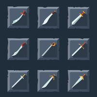 Set di icone di spada vettore