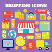 Shopping icone decorative vettore