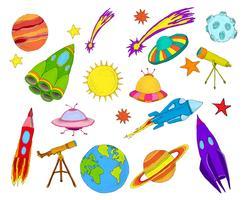 Set di schizzo di oggetti spaziali colorati