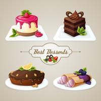 Set dessert dolci vettore
