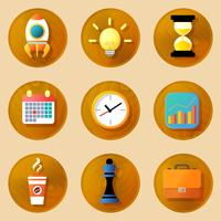 Set di icone di affari in legno