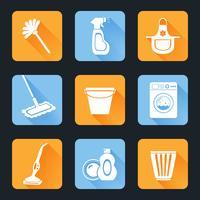 Set di icone di pulizia vettore