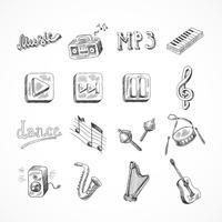 Set di icone della musica vettore