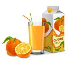 Set di succo d'arancia vettore