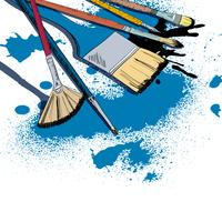 Emblema di schizzo di pennelli artista
