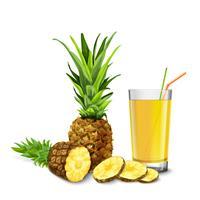 Bicchiere di succo d'ananas vettore