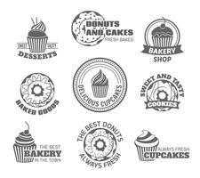 Etichetta cupcake ciambella vettore
